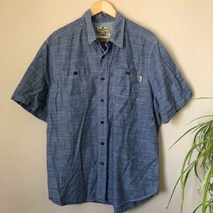 Woolrich Blue Button Down Men's Short Sleeve Shirt